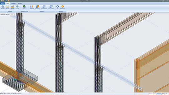 Precast part overview model with shop drawing data